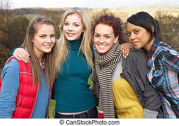vier, jugendlich, gruppe, herbst, weibliche , friends, landschaftsbild