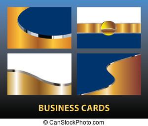 vier, kaarten, goud, zakelijk, leeg