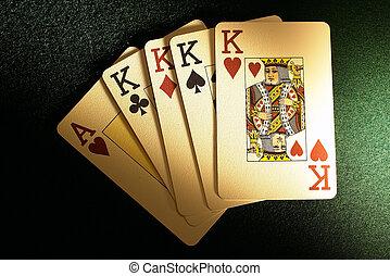 vier, karten, feuerhaken