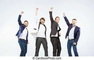 vier, kerels, vervaardiging, een, overwinning, gebaar