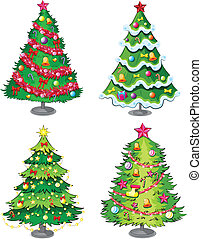 vier, kerstbomen