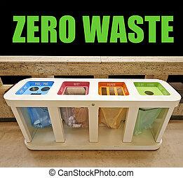 vier, kleur, afval kan, nul, afval, concept