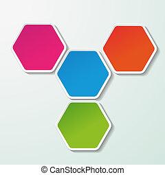 vier, kleurrijke, papier, zeshoeken