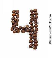 vier, koffie, gemaakt, bonen, geroosterd