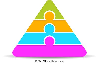 vier, lagen, piramide, diagram