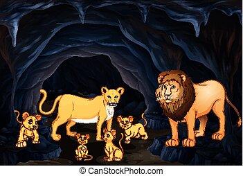 vier, leeuw, jong, gezin