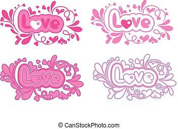 vier, lettering, set, liefde