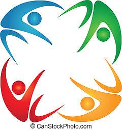 vier, logo, gruppe, gefärbt, leute