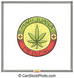 vier, logo, medisch, marihuana