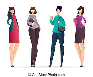 vier, maniertjes, set, vrouwen, zakelijk