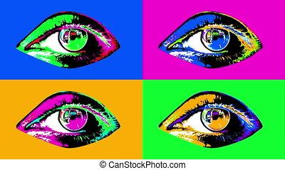 "vier, menselijk, kleurrijke, ""animation, eyes"""