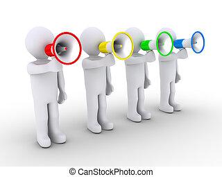 vier mensen, het spreken, megaphones