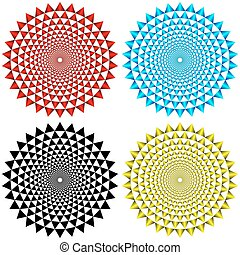 vier, motieven, concentrisch, circulaire