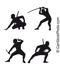 vier, ninja, set