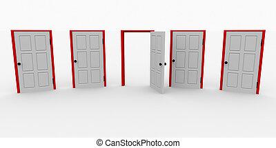 vier, open deur, gesloten, een