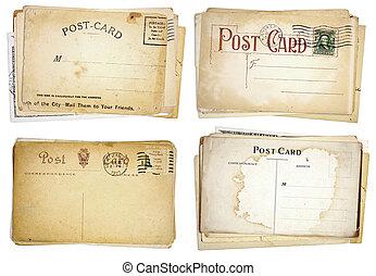 vier, opperen, van, leeg, ouderwetse , postkaarten