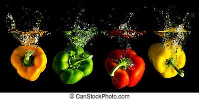 vier, paprika, farbig, wasser, fallender , mehrere