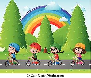 vier, park, geitjes, fiets te rijden