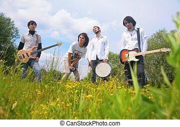 vier, park, gruppe, musik
