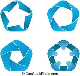 vier, pentagoon, iconen