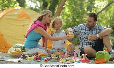 vier, picknick, wald, familie, haben