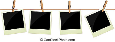vier, polaroid, afbeeldingen, hangend