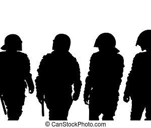vier, polizei, zwingen