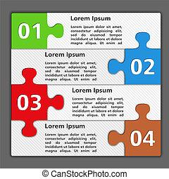 vier, puzzel, design, stücke