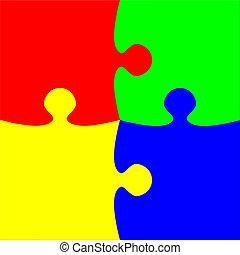 vier, raadsel, kleurrijke, stukken
