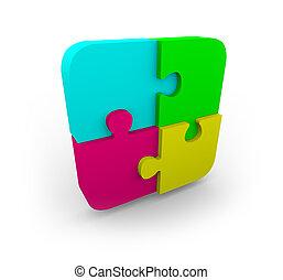 vier, raadsel, passen, samen, stukken