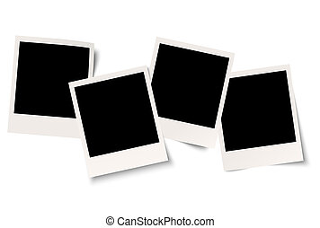 vier, reeks, schaduw, polaroids