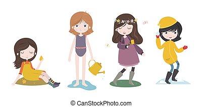 vier, reizend, mädels, karikatur, seasons.