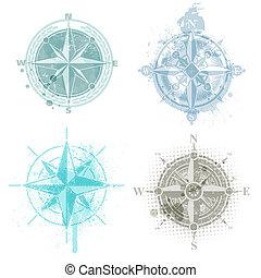 vier, rose, vektor, kompaß