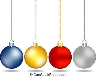 vier, set, kerstballen, hangend