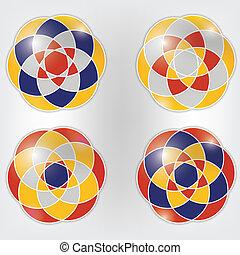vier, set, vector, versieringen, kleurrijke
