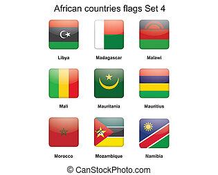 vier, set, vlaggen, afrikaan, landen