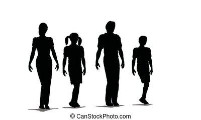 vier, silhouette, familie, glücklich
