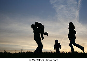 vier, silhouette, familie