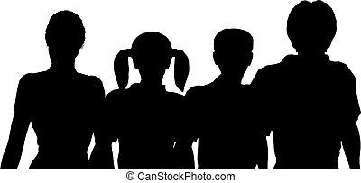 vier, silhouette, gezin