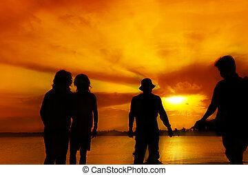 vier, silhouette, mann