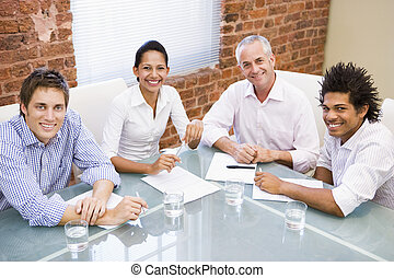 vier, sitzungssaal, lächeln, businesspeople