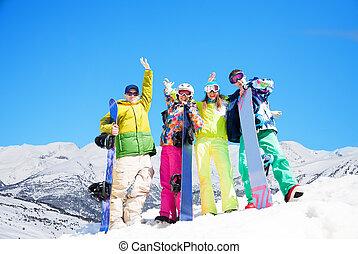 vier, snowboards, friends, glücklich