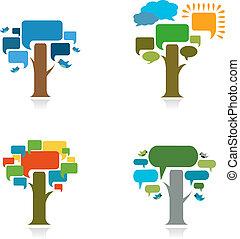 vier, speach, bel, bomen