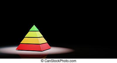 vier, spotlighted, pyramide, hintergrund, niveaus, schwarz