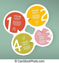 vier, stappen, cirkel, vector, papier, infographic, mal