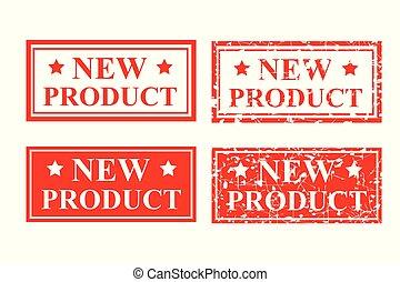 vier, stijl, product, postzegel, rubber, nieuw, rood