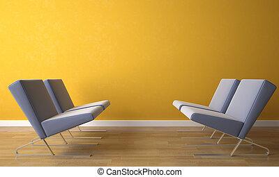 vier, stoel, op, gele, muur