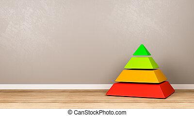 vier, struktur, pyramide, zimmer, niveaus