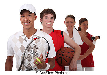vier teenager, angezogene , für, verschieden, sport