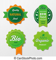 vier, tekst, etiketten, biofood